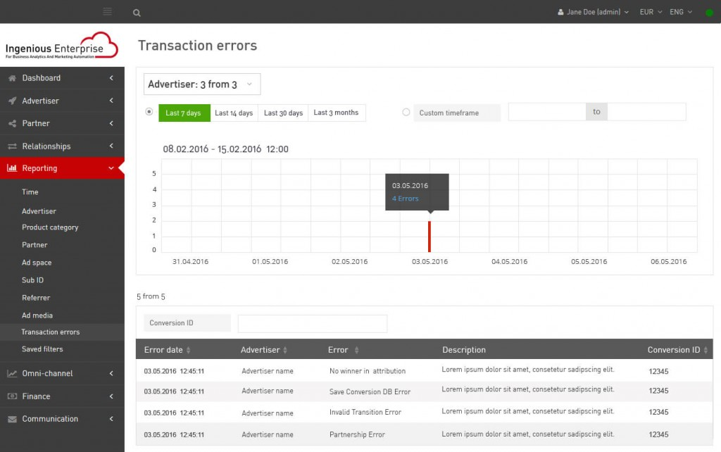 Reporting on transaction errors
